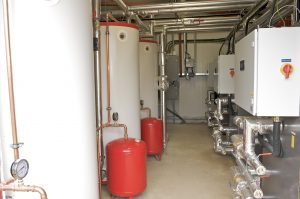 An industrial ground source heat pump installation completed by Finn Geotherm