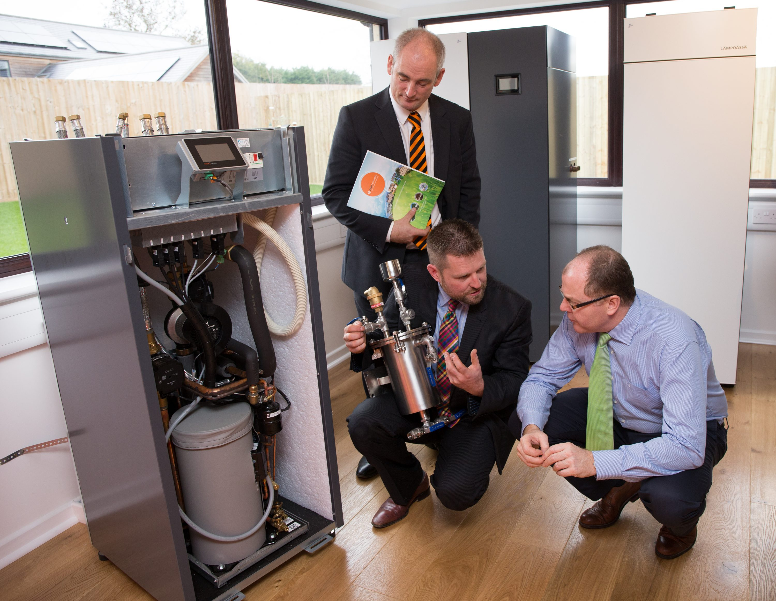 A product demonstration of a ground source heat pump in the new Finn Geotherm showroom