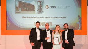 Award winners! Finn Geotherm presented Domestic Air Source Project of the Year