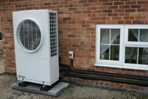 Dimplex air source heat pump installation on a flat roof