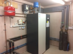 Plant room for a ground source heat pump installation