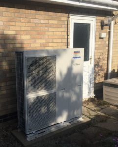 A Panasonic air source heat pump installed by Finn Geotherm
